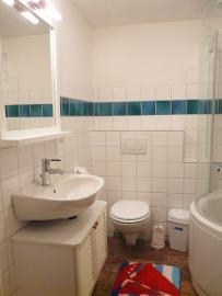 Badezimmer (unten) mit Bad-/Duschwanne