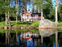 Ferienhaus am See NISSÅNGEN - Seeufer Seeblick Ruderboot Sauna Angeln; ruhige Lage in freier Natur