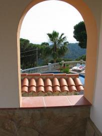 Blick von Wohnung 3 auf den Pool