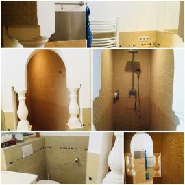 Badezimmer, begehbare  Dusche u. Doppelwaschtisch