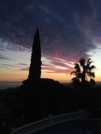 Sonnenuntergang mit Blick von der Terrasse